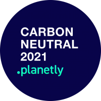 Carbon Neutral badge 2021 by planetly - Carbon neutral e-commerce fulfillment