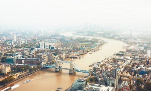London skyline with Tower bridge, The United Kingdom of Great Britain and Northern Ireland - tilt shift